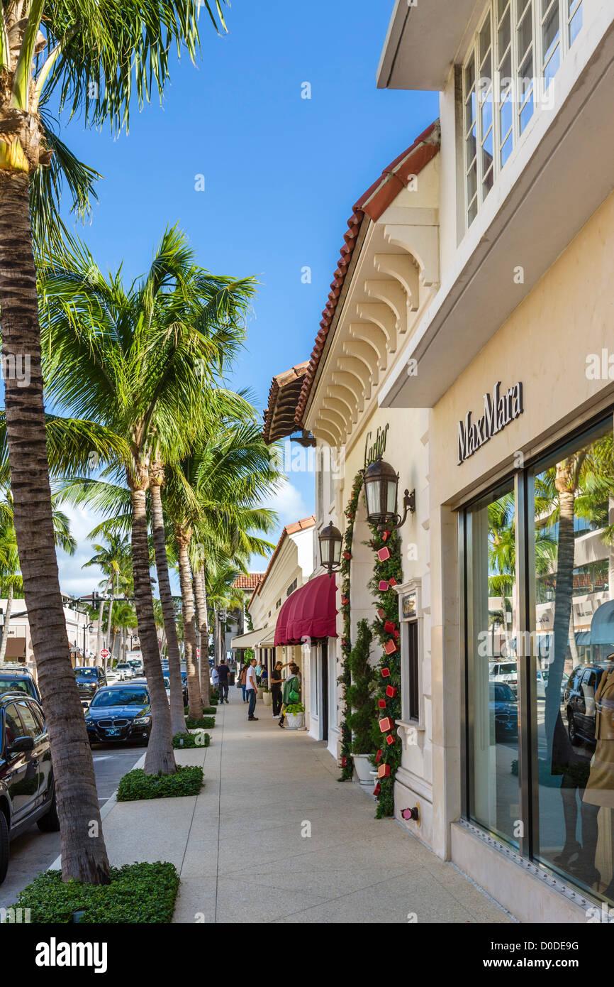 Stores on Worth Avenue in downtown Palm Beach, Treasure Coast, Florida, USA Stock Photo
