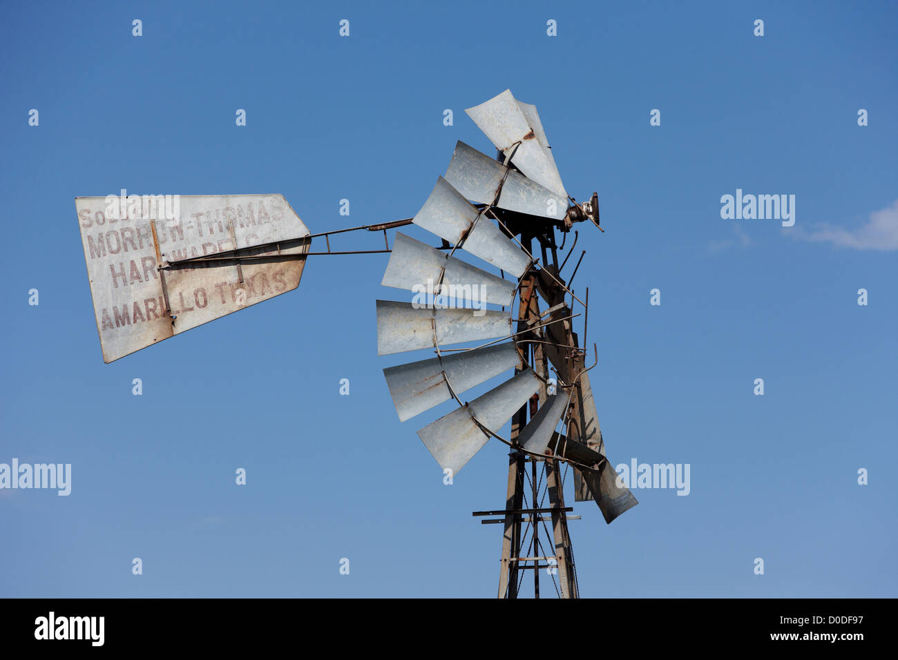 Detail of a windmill destroyed by extreme wind in Pampa, Texas. - Stock Image