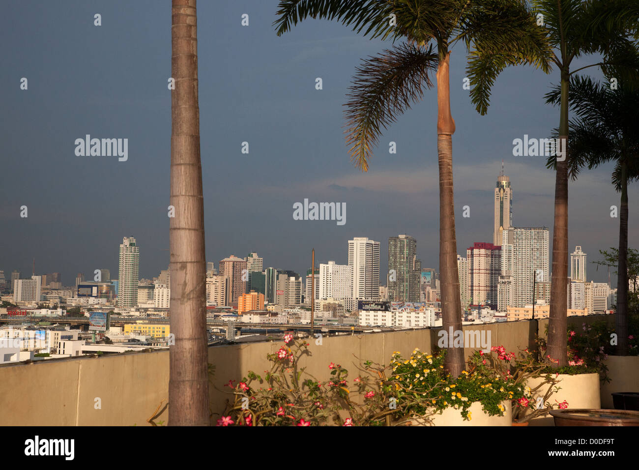 PANORAMA OF THE CITY'S SKYSCRAPERS SEEN FROM A TERRACE AT THE PRINCE HOTEL BANGKOK THAILAND - Stock Image