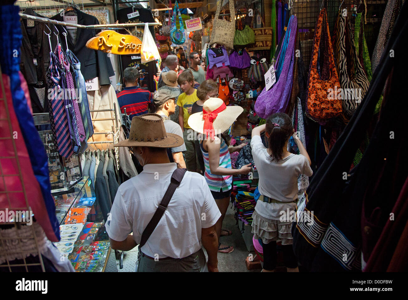 FASHION ACCESSORY SHOP CHATUCHAK WEEKEND MARKET THE BIGGEST MARKET IN ASIA SPREADING OVER 30 ACRES BANGKOK THAILAND - Stock Image