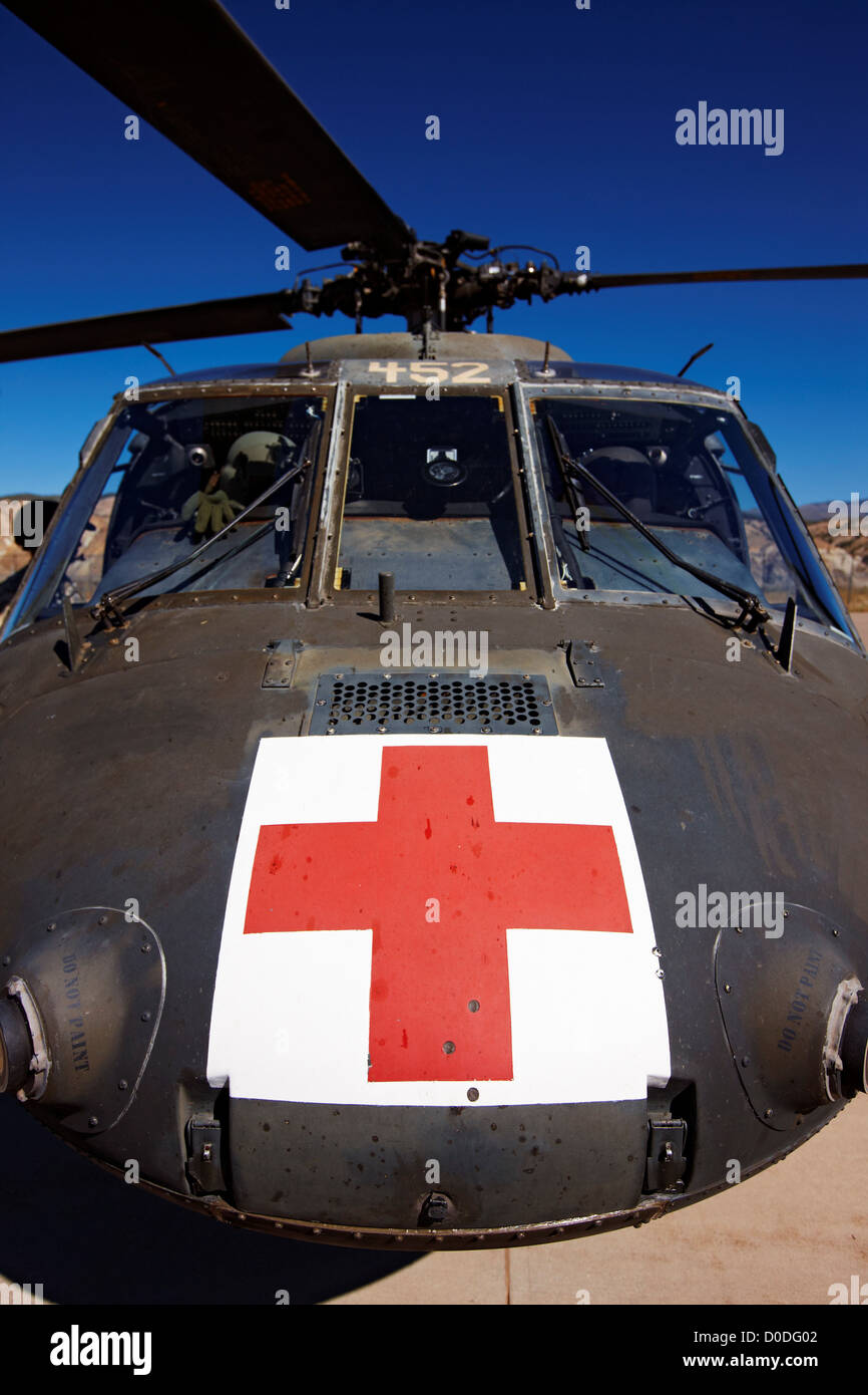 Detail of a U.S. Army Dustoff air ambulance medevac UH-60 Blackhawk helicopter. - Stock Image