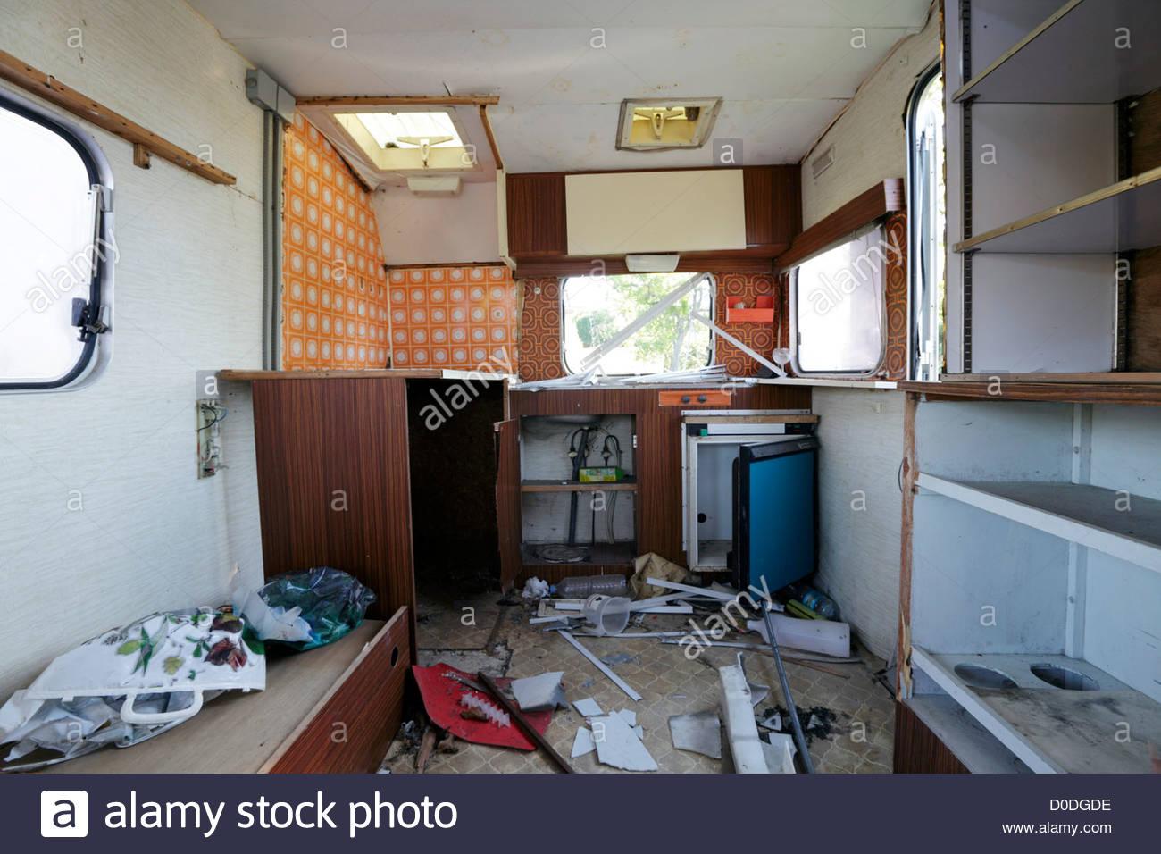 Damaged Mobile Home Inside Ruin Stock Photos Damaged Mobile Home