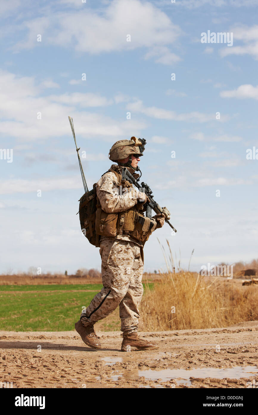 United States Marine on a combat patrol near the city of Marjah, in the Helmand Province of Afghanistan - Stock Image