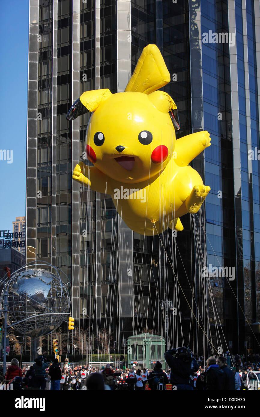 304c6f50288ea0 Pikachu Pokeman balloon moves into Columbus Circle duirng Macy's  Thanksgiving Day Parade in New York City