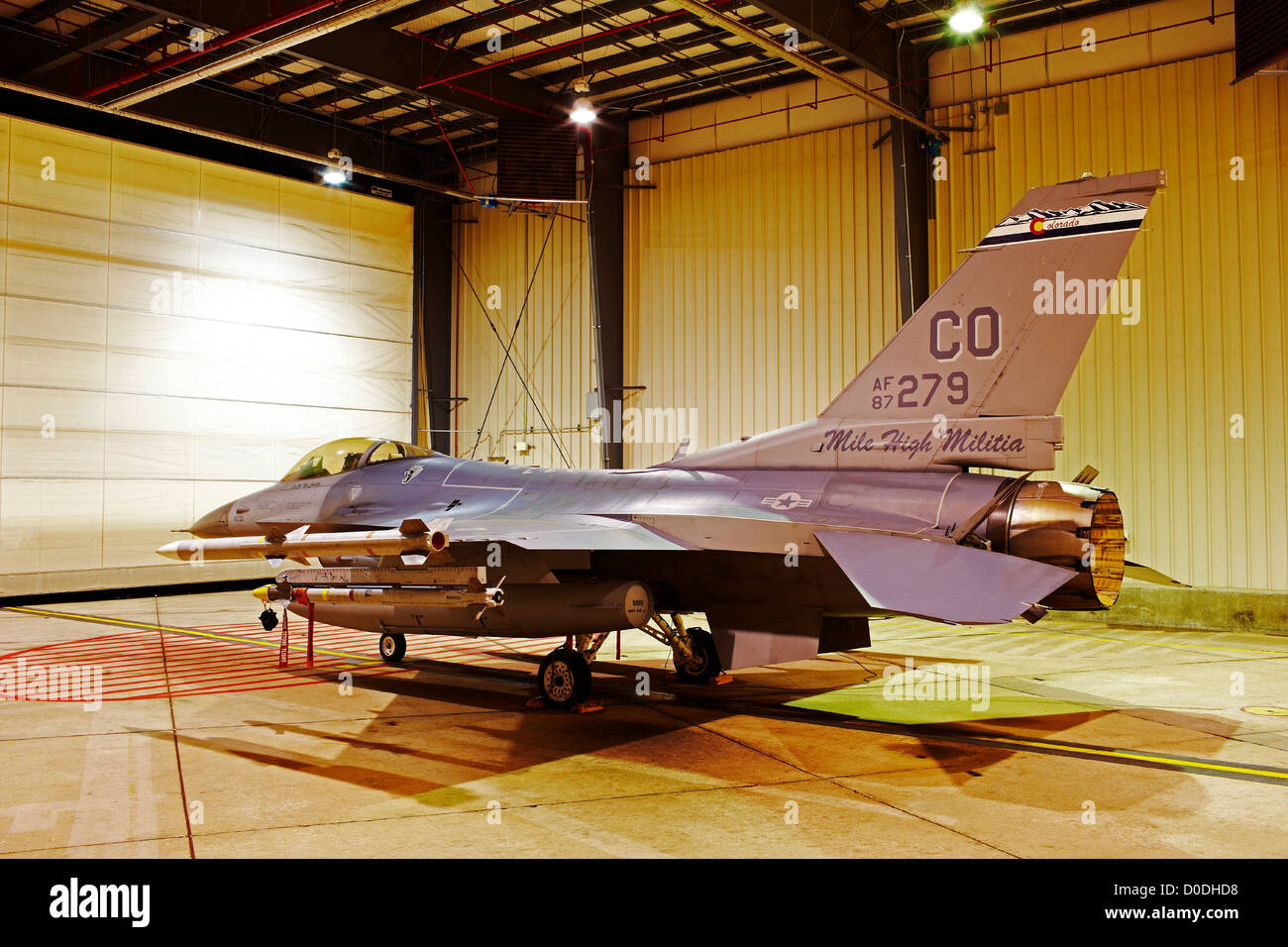 F-16, loaded with live weapons, in alert hangar, Buckley Air Force Base, Colorado - Stock Image