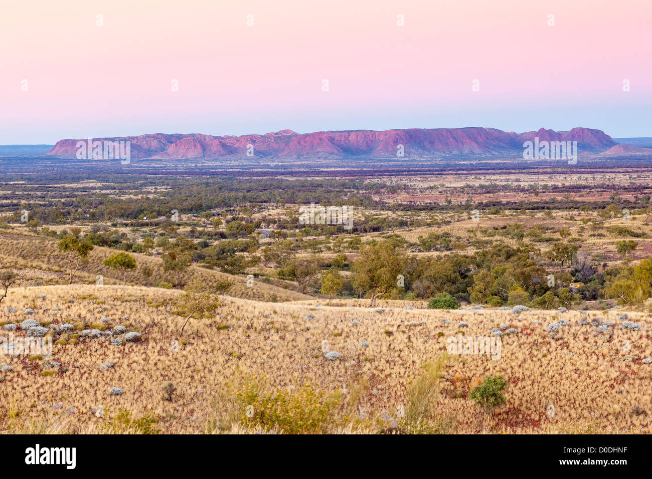 Gosse Bluff from Tylers Pass at sunrise, Tnorala (Gosse Bluff) Conservation Reserve, West MacDonnell Ranges, Alice - Stock Image