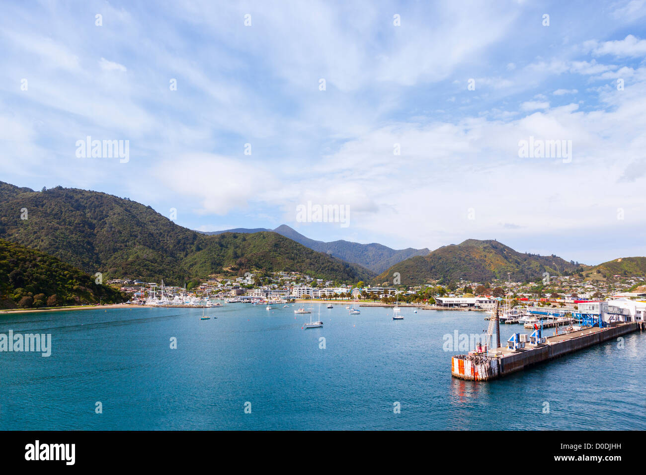 Port of Picton, Marlborough, New Zealand, from the sea. Stock Photo