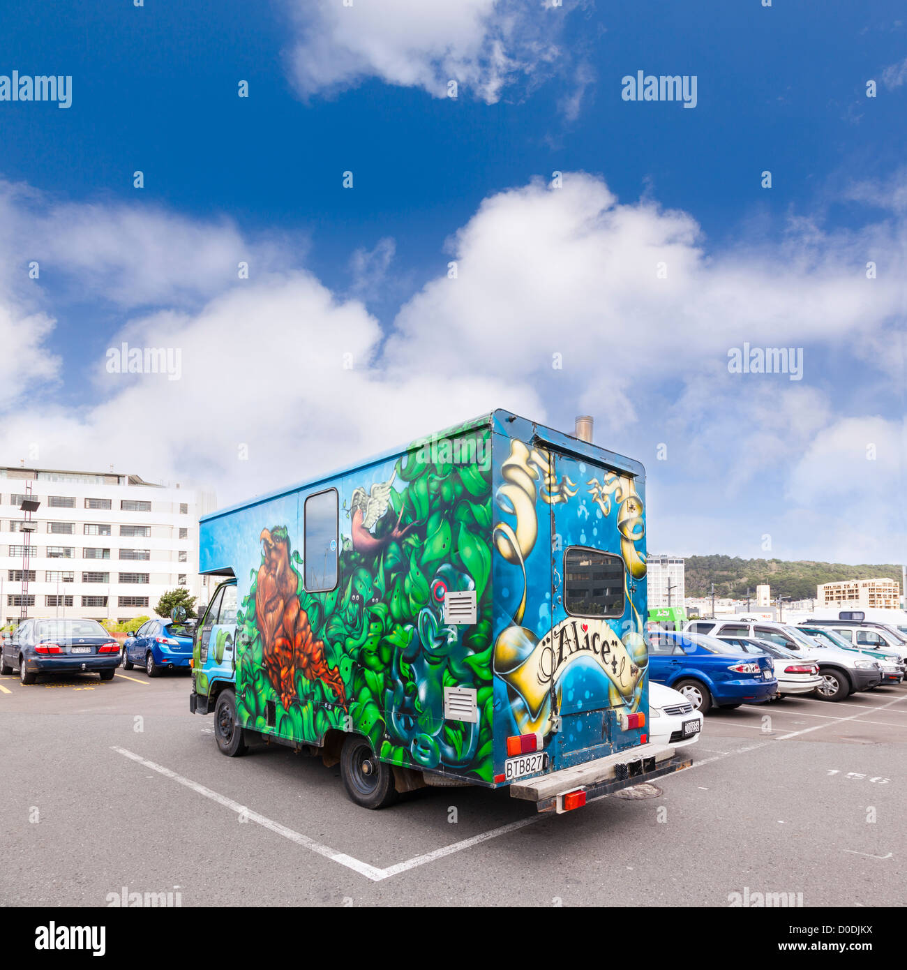 A highly decorated motor home or house truck in a car park in Wellington, New Zealand. Stock Photo