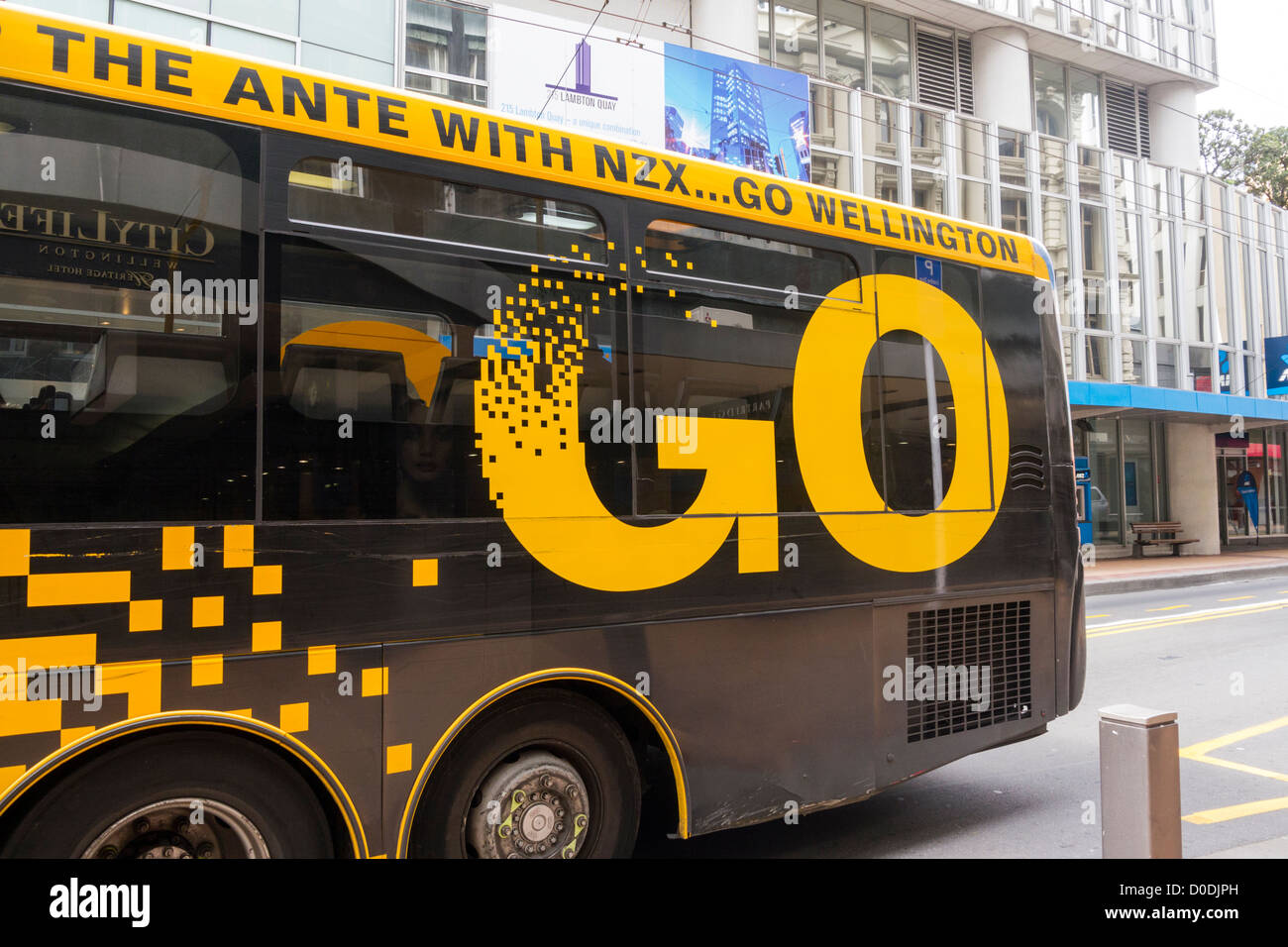 Wellington bus with the slogan Go Wellington painted on the side. - Stock Image