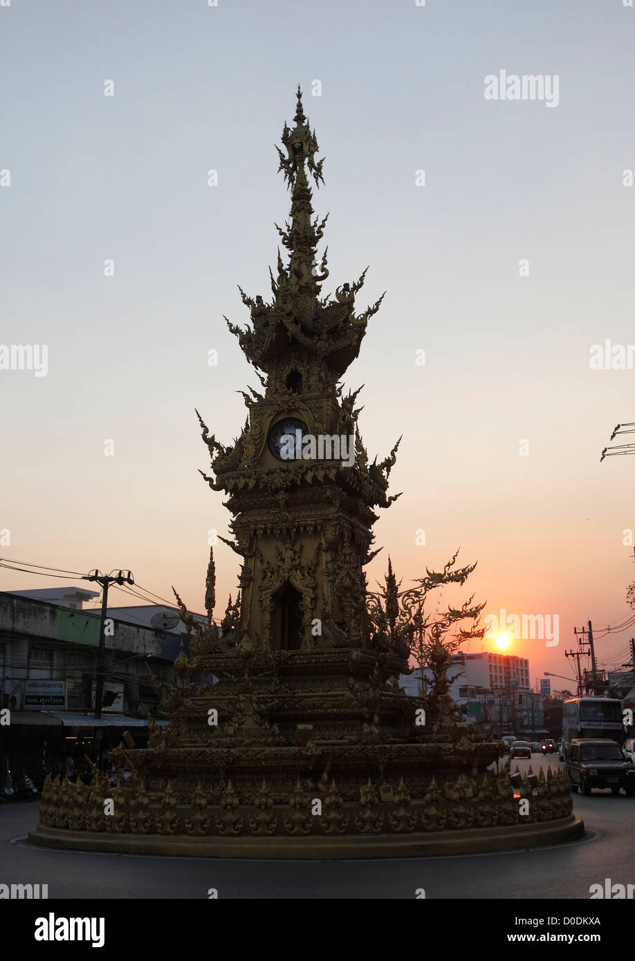 Golden clock tower in Chiang Rai, Thailand, Asia Stock Photo