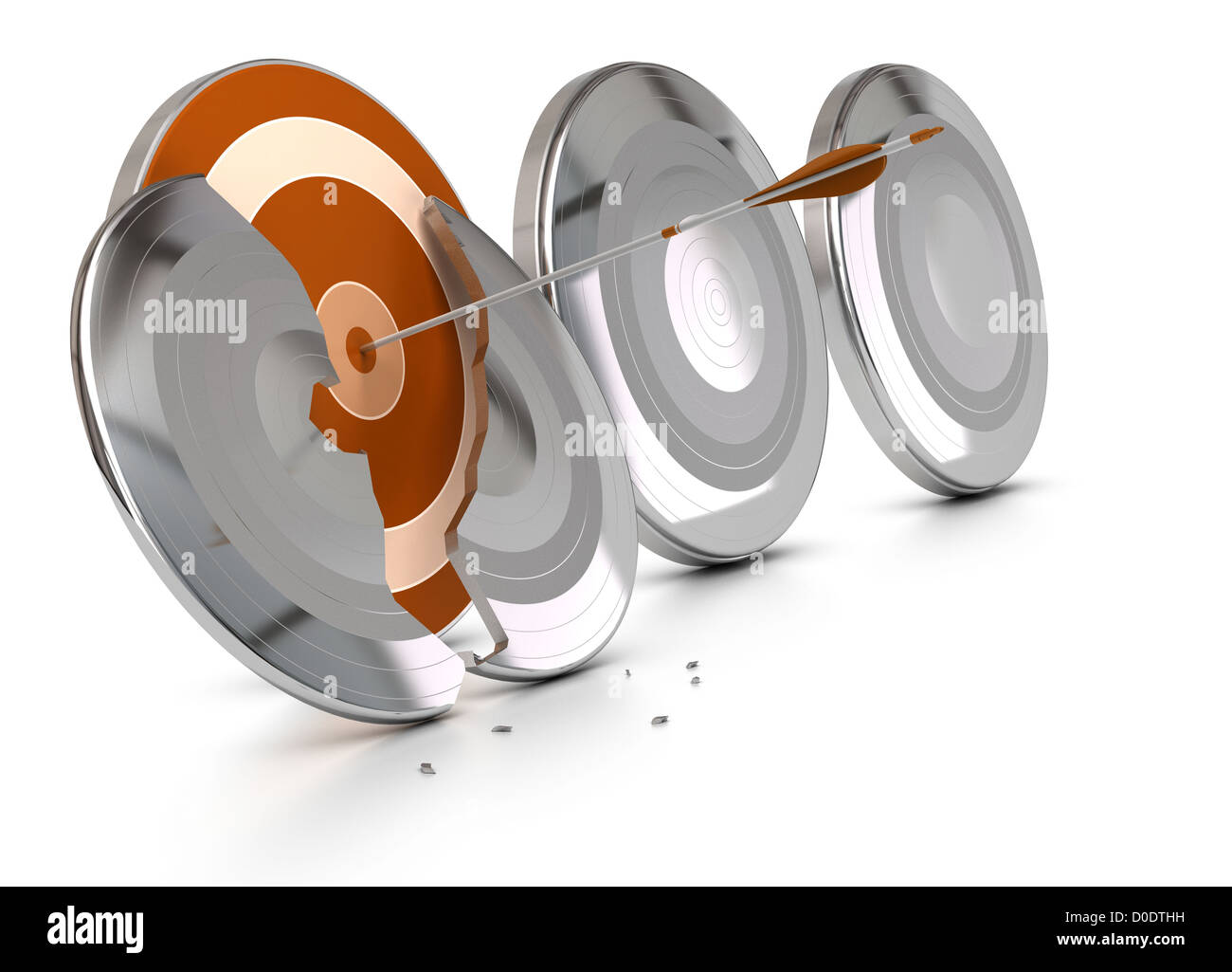 orange target protected by metal armors, one of the metal armor is broken by an arrow, the others are entire, image - Stock Image