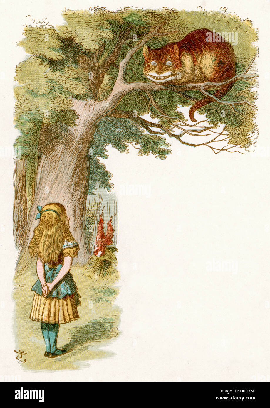 The Cheshire Cat, from the Lewis Carroll Story Alice in Wonderland, Illustration by Sir John Tenniel 1871 - Stock Image