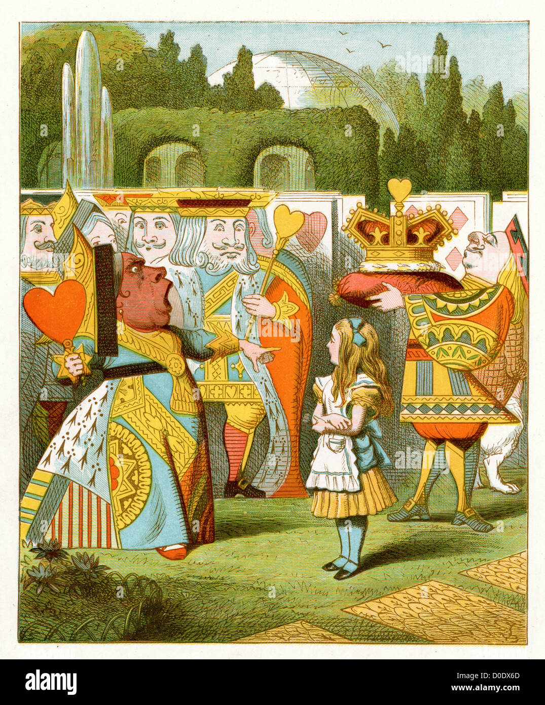 The Queen has come !, from the Lewis Carroll Story Alice in Wonderland, Illustration by Sir John Tenniel 1871 - Stock Image