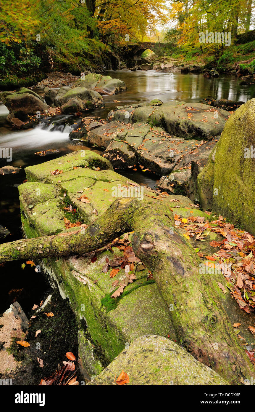 River Esk and Trough House Bridge in autumn, Eskdale, English Lake District - Stock Image