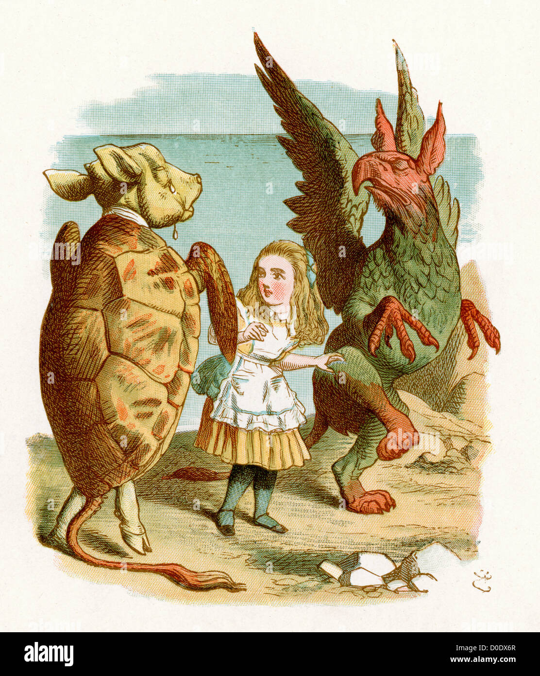 The Gryphon and Mock Turtle, from the Lewis Carroll Story Alice in Wonderland, Illustration by Sir John Tenniel - Stock Image