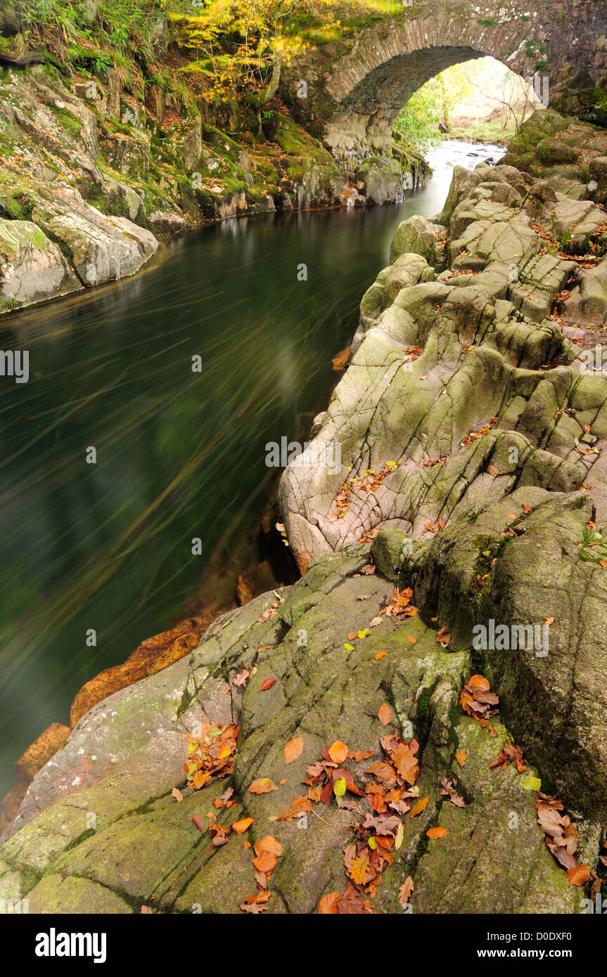 Long exposure image of flowing fallen autumn leaves in the River Esk, English Lake District - Stock Image