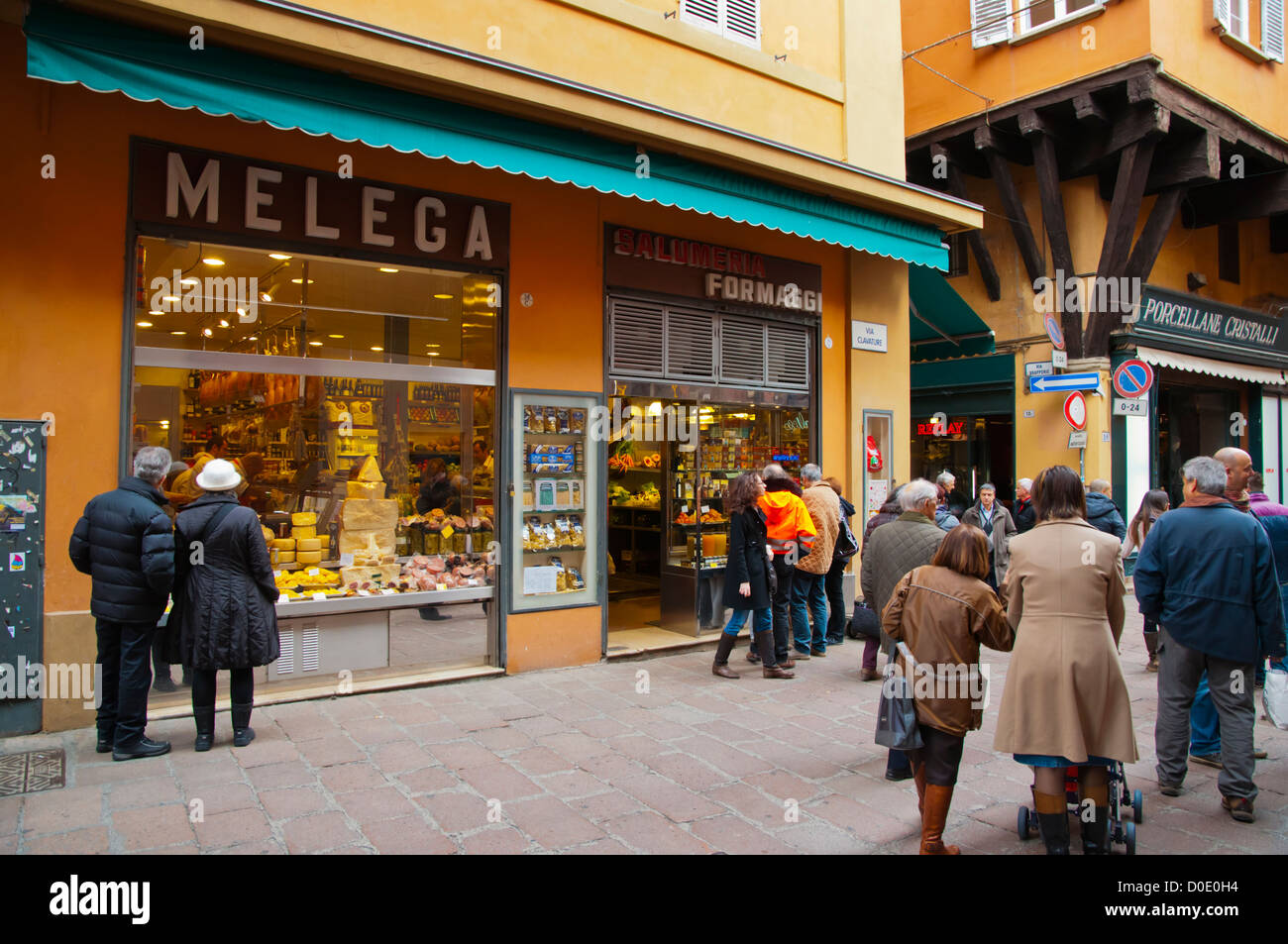 Via Clavature street Quadrilatero district Bologna city Stock Photo ...