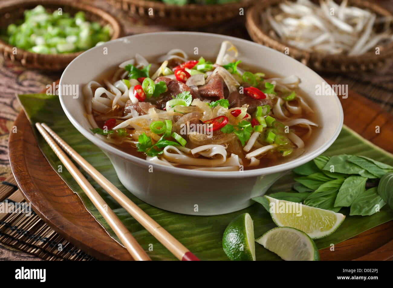 Pho Bo Beef and noodle soup Vietnam Food Stock Photo