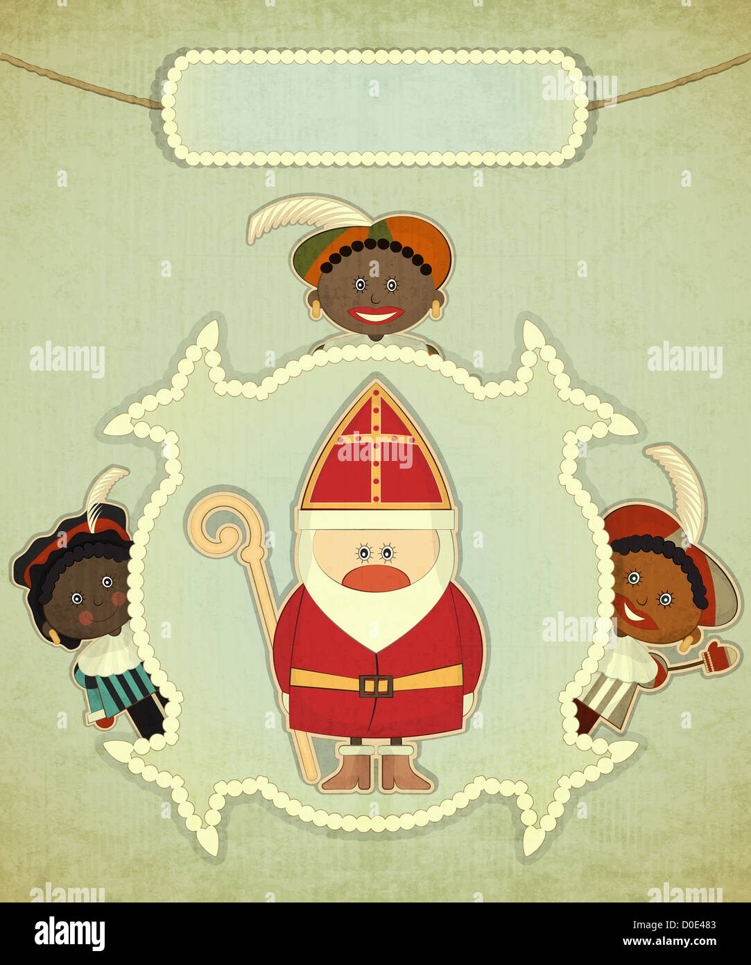 Christmas Card With Dutch Santa Claus Sinterklaas And Piet Stock