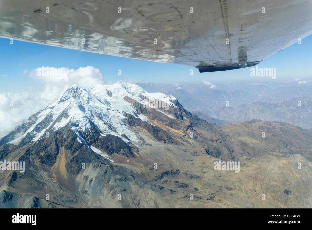 Aerial view of the mountain Illimani, Bolivia Stock Photo