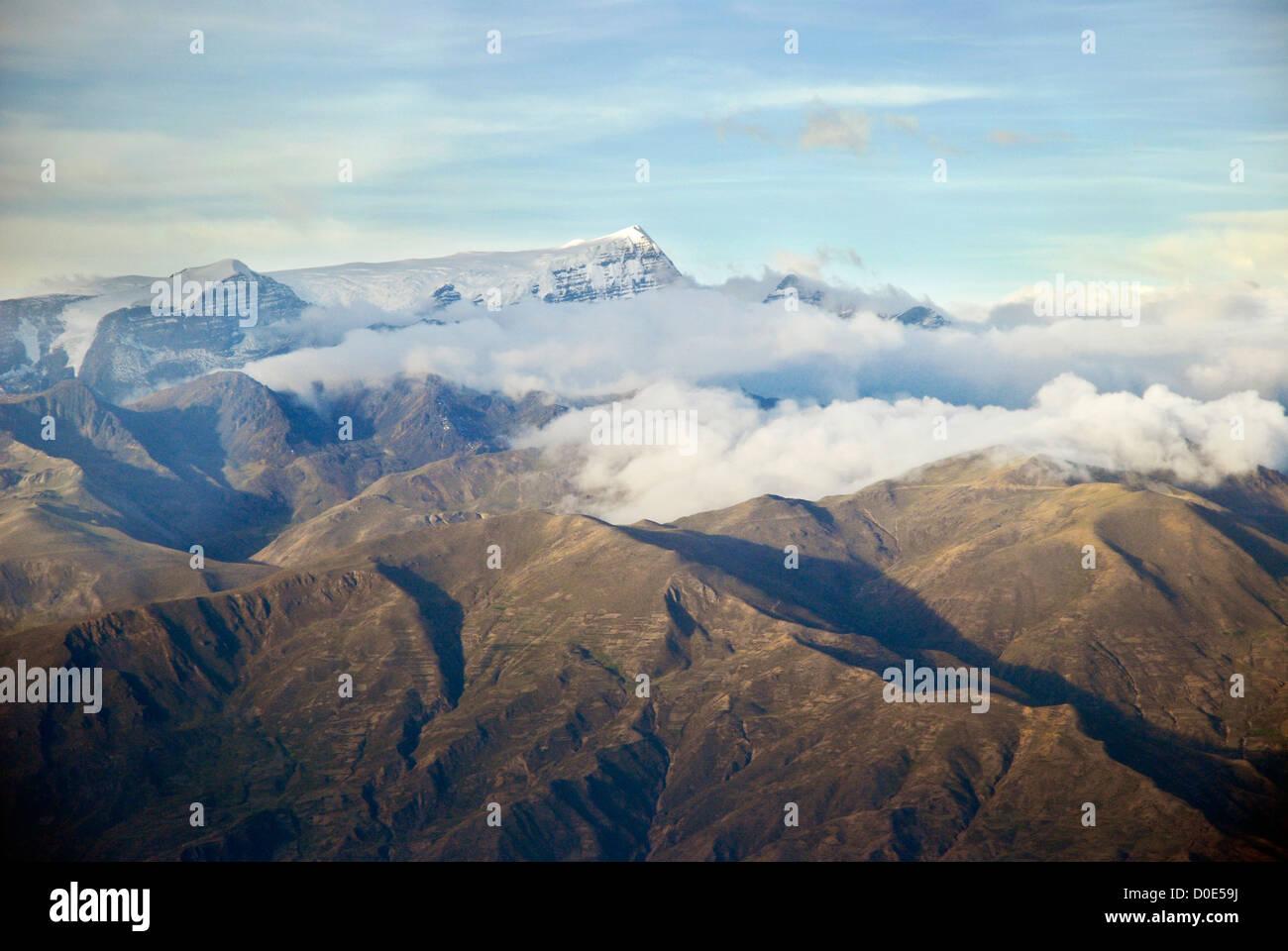 Aerial view of the mountain Mururata, Bolivia - Stock Image