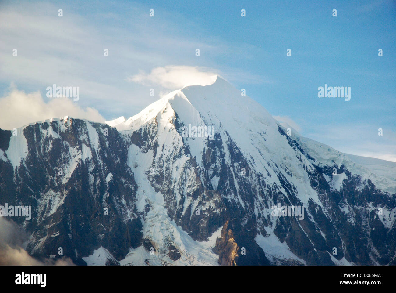 Aerial view of the mountain Illimani, Bolivia - Stock Image