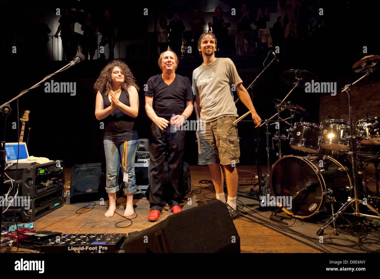Julie Slick, Adrian Belew and Marco Minneman Adrian Belew performs ...