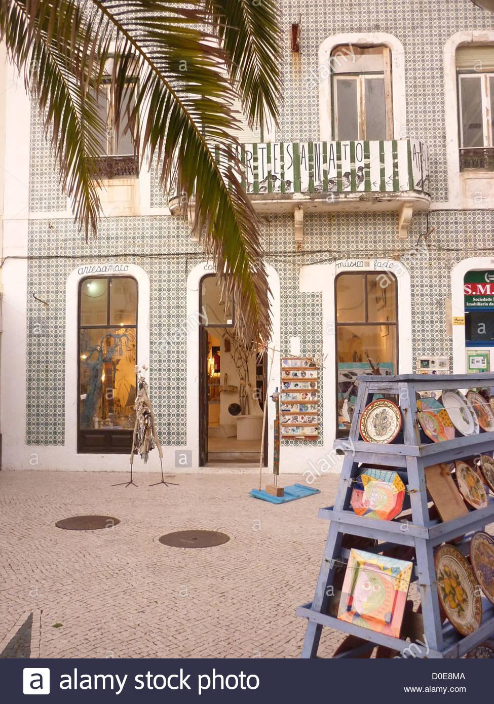 Artist shop 'Casa Alcoa' Praça Sousa Oliveira Nazaré Portugal - Stock Image