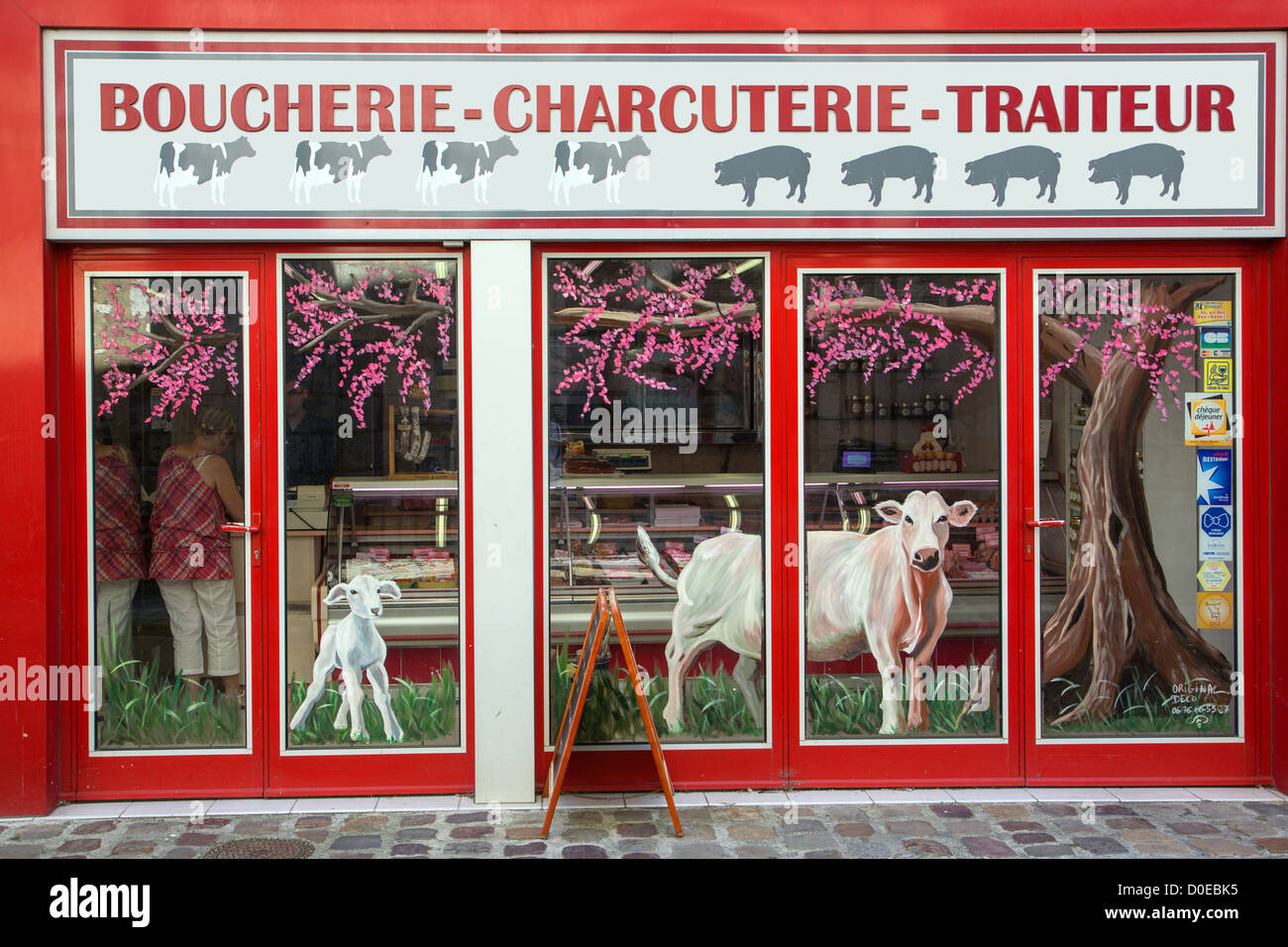 FACADE OF A BUTCHER'S SHOP PORK PRODUCTS CATERING FOOD STORES IN BONNEVAL EURE-ET-LOIR (28) FRANCE - Stock Image
