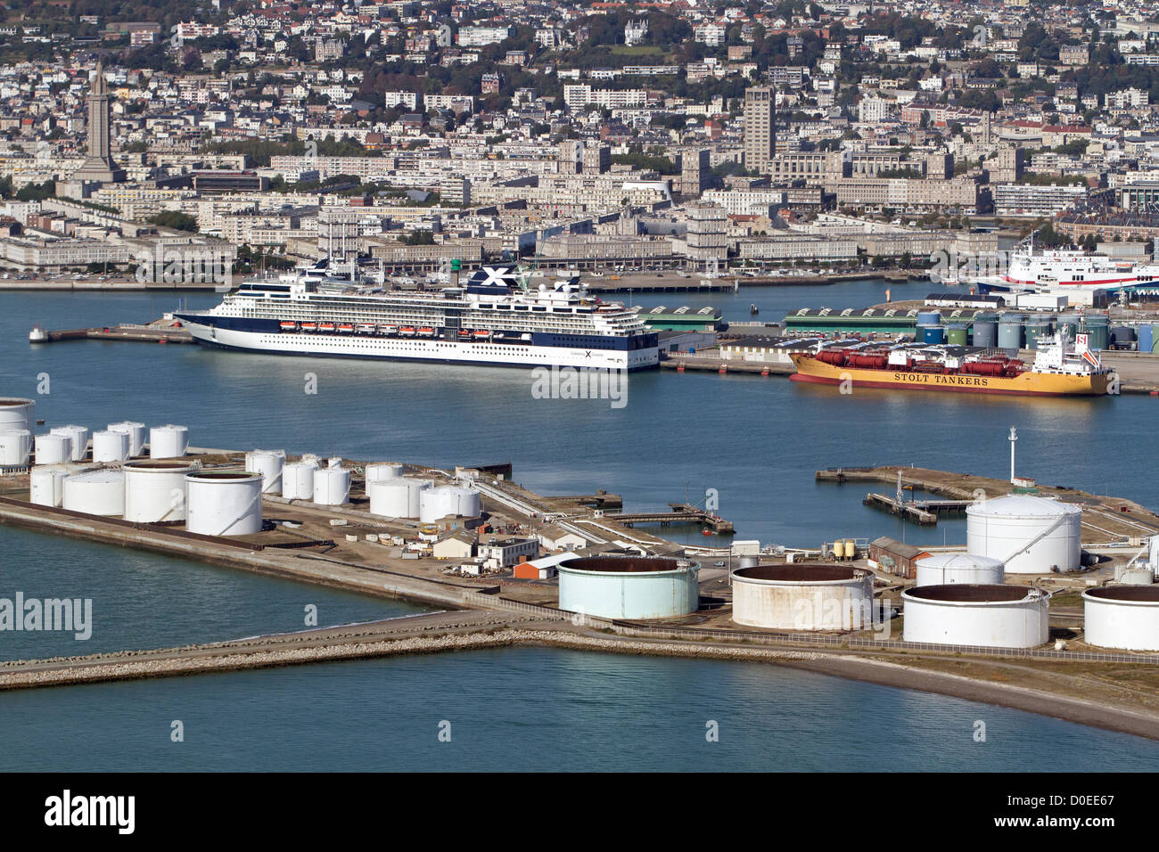 AERIAL VIEW OF THE BIG MARITIME PORT OF LE HAVRE (CRUISE AND CARGO PORT) LE HAVRE SEINE-MARITIME (76) FRANCE - Stock Image