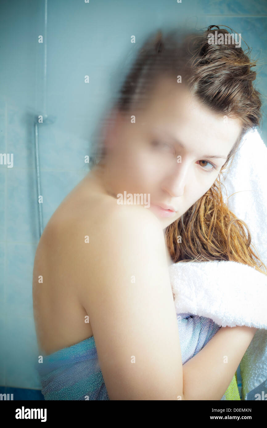 woman reflects Stock Photo