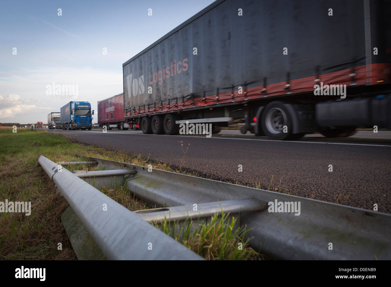 trucks and transport on highway A67 Netherlands Europe most