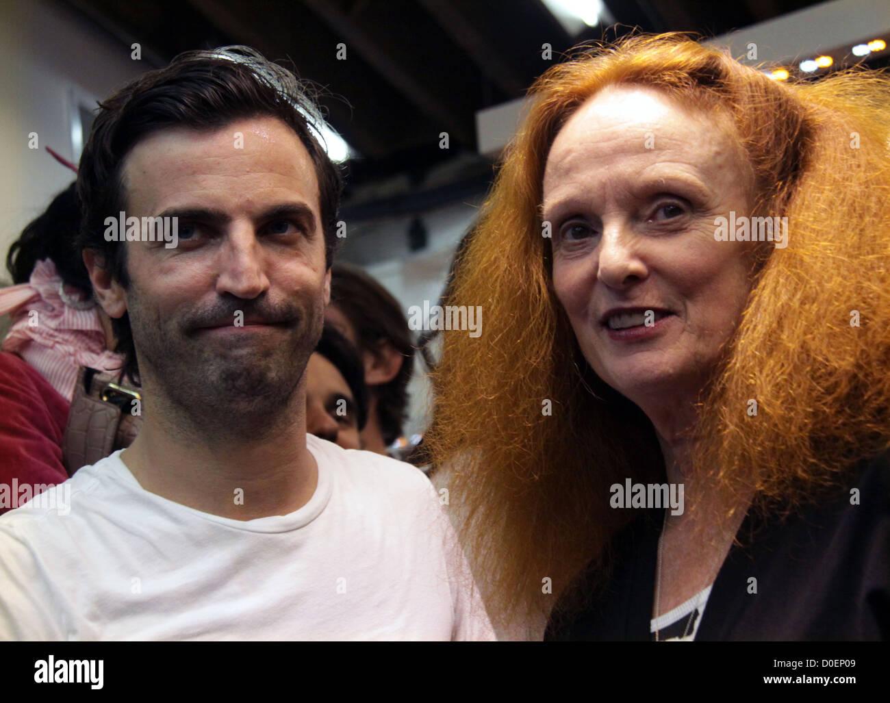 Nicholas Ghesquirre and Grace Coddington Fashion's Night Out at Balenciaga boutique New York City, USA - 10.09.10 - Stock Image