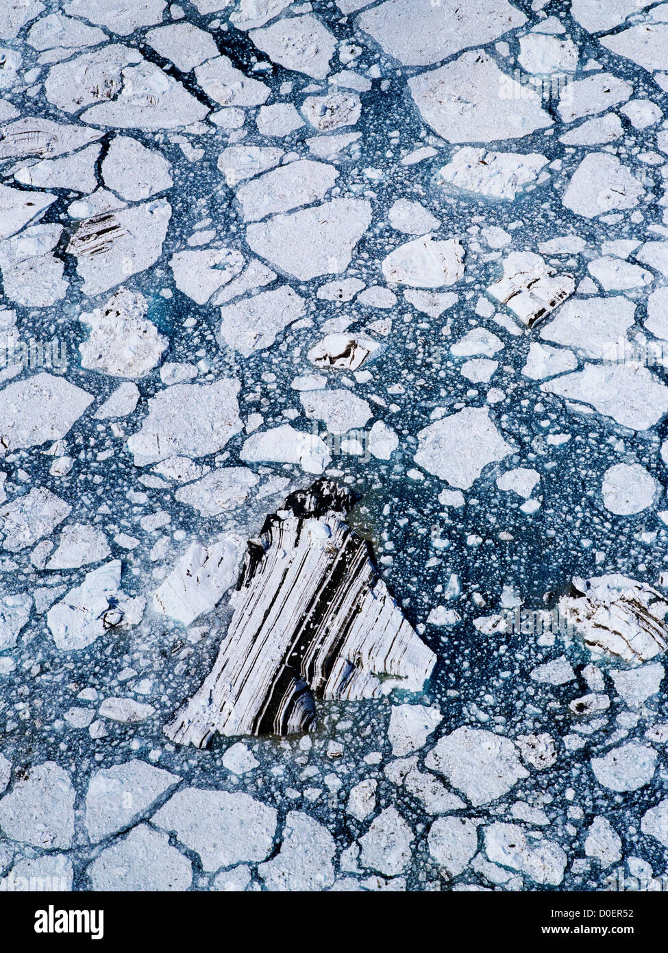Ice Pattern Below John Hopkins Glacier Stock Photo