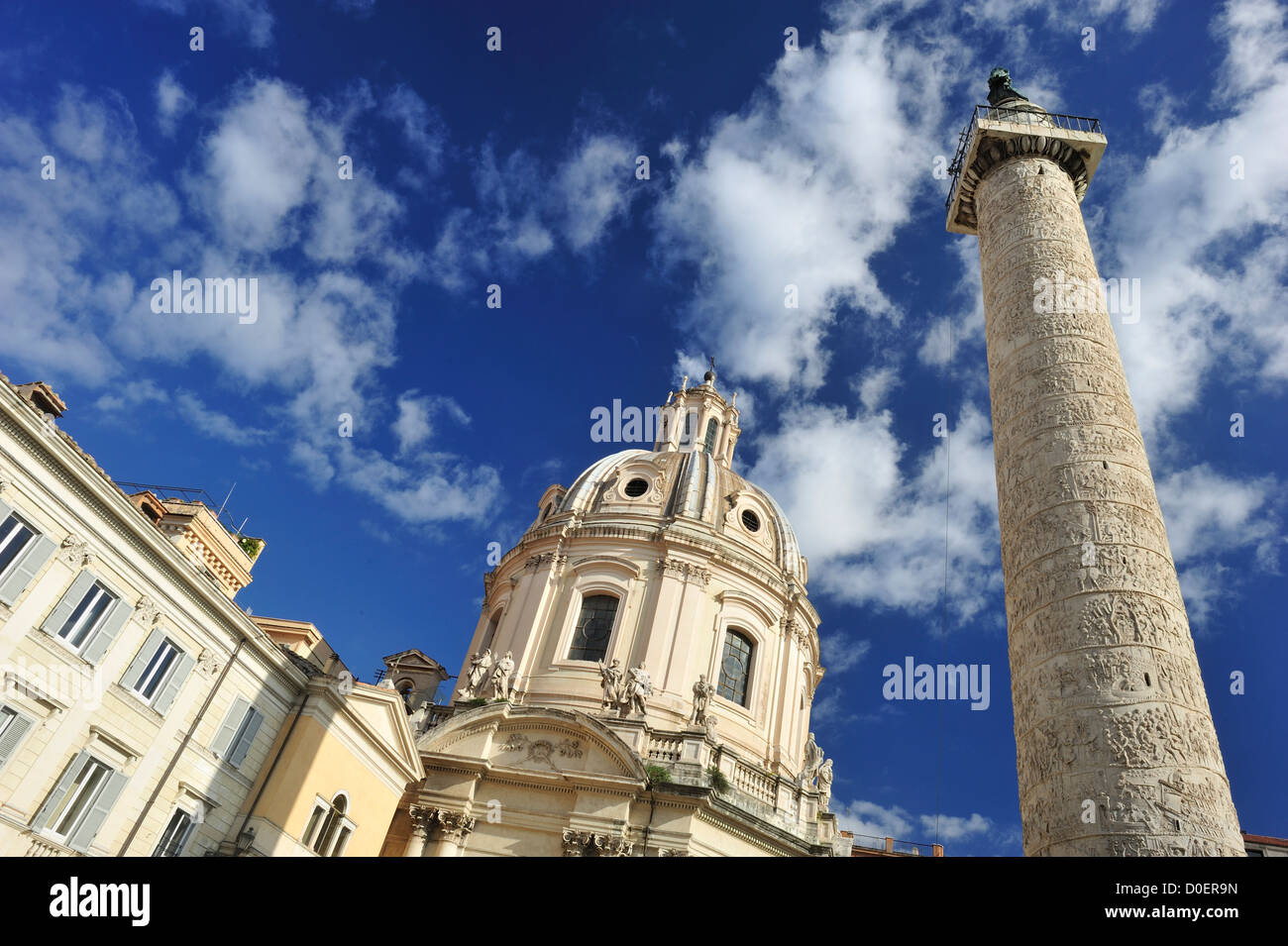 Trajan's Column located in the Forum of Trajan, the largest of the imperial forums in Rome, Italy - Stock Image