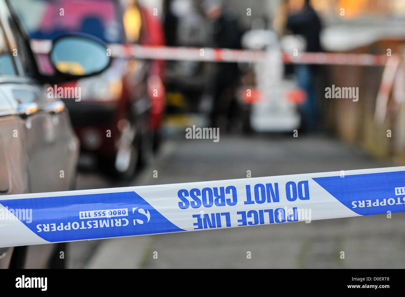 23rd November 2012, Belfast, Northern Ireland.  A suspicious device was found during a planned search of a house - Stock Image