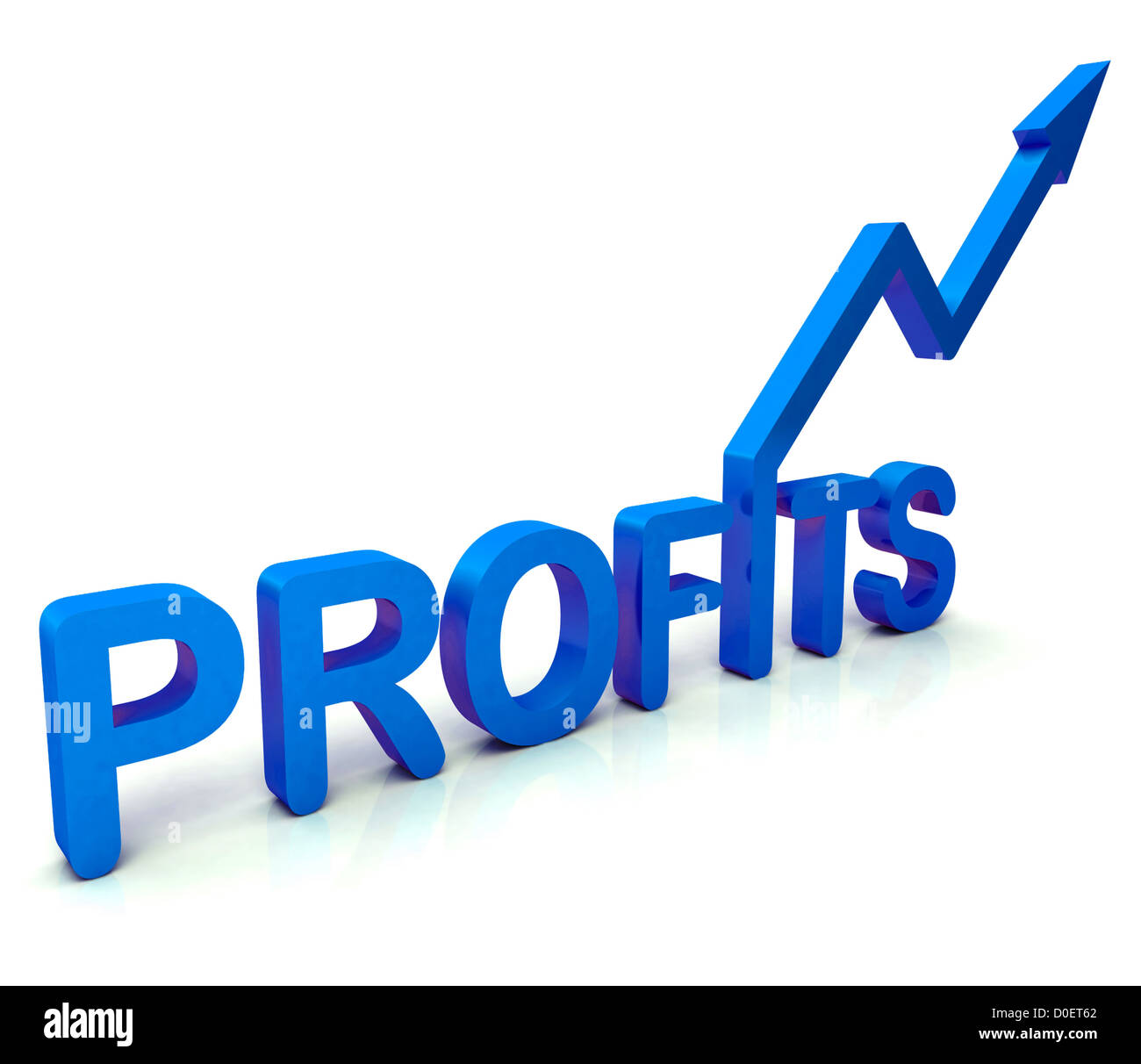 Blue Profit Word Showing Income Earned From Business, Success, - Stock Image