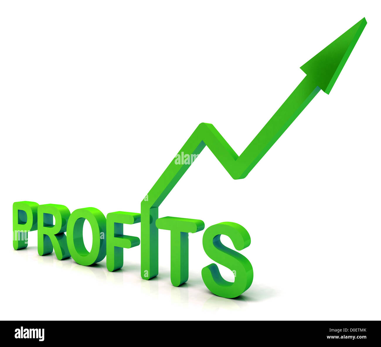 Green Profit Word Showing Income Earned From Business, Success, - Stock Image