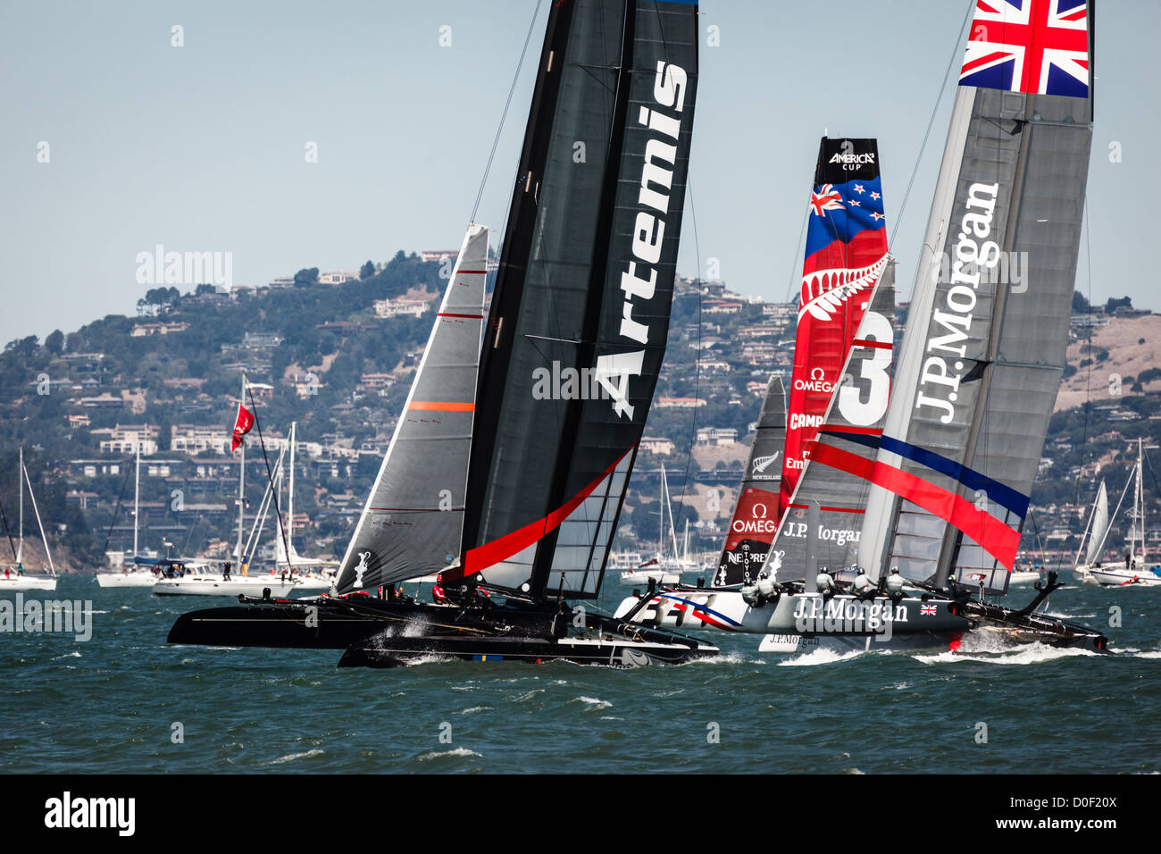Cluster of competitors in the America's Cup Sailing races for Louis Vuitton Cup on August 25, 2012 in San Francisco - Stock Image