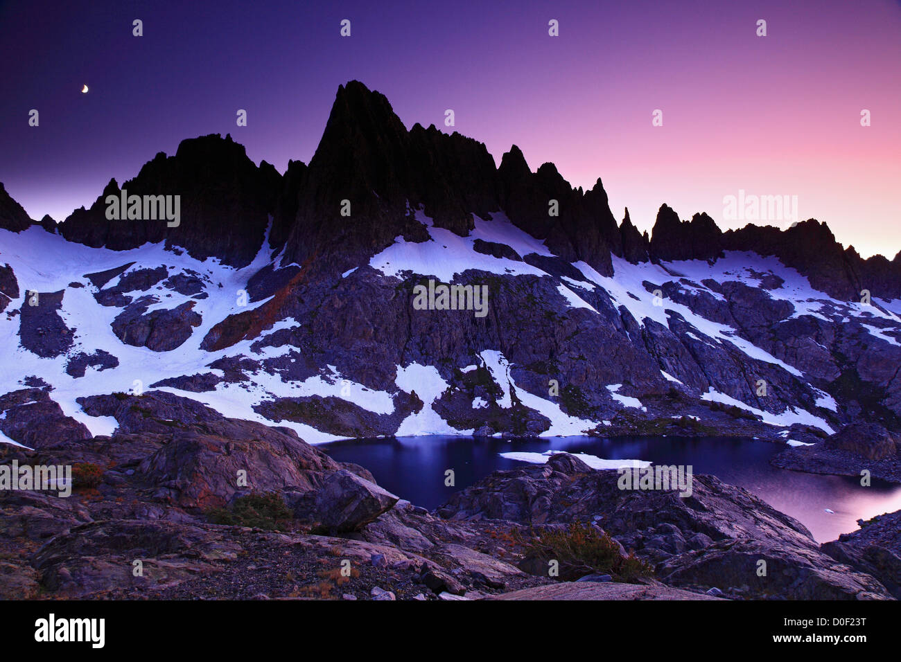Moonrise And Alpenglow Over The Minarets And Cecile Lake In The