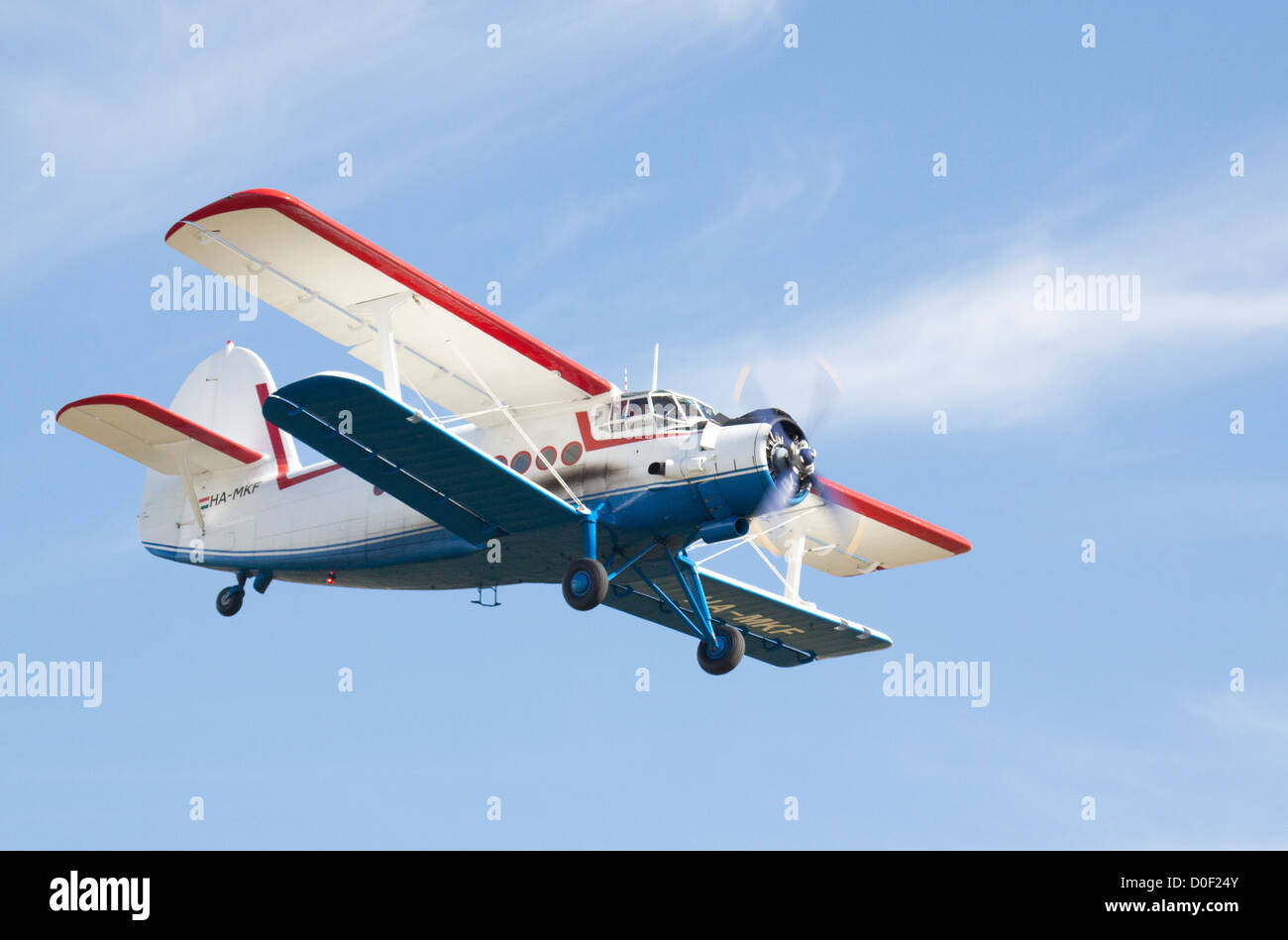 Russian Antonov AN-2 on a flypast. - Stock Image