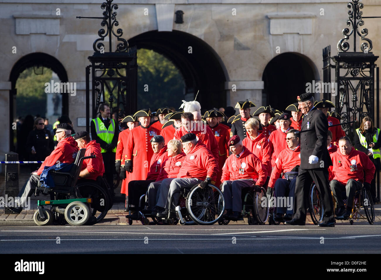 The men and women of Remembrance Sunday in and around whitehall London 2012  Poppy Day - Stock Image