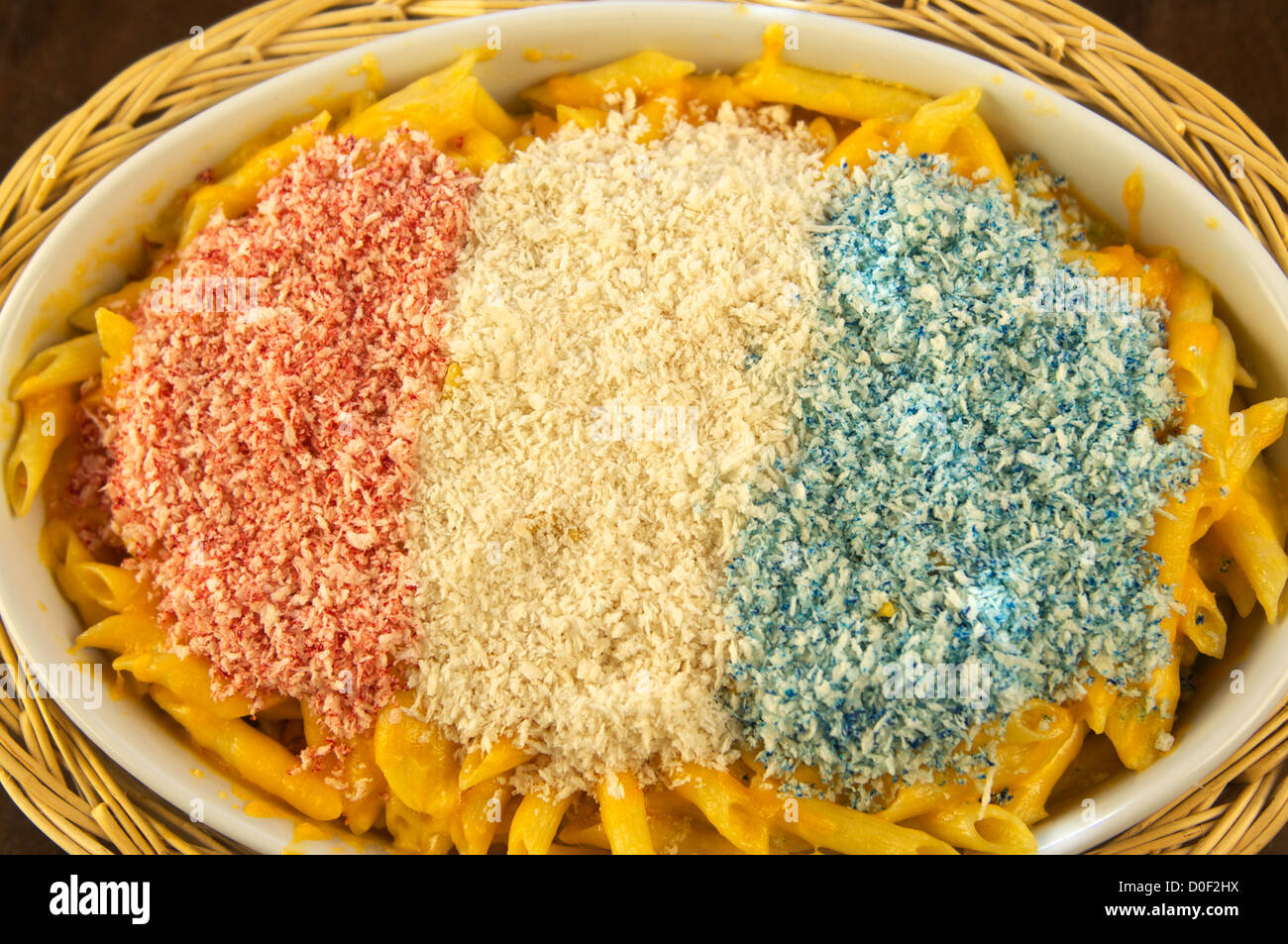 Red, white and blue macaroni and cheese. This is a Patriotic Dish special for the Fourth of July (July 4), American Stock Photo