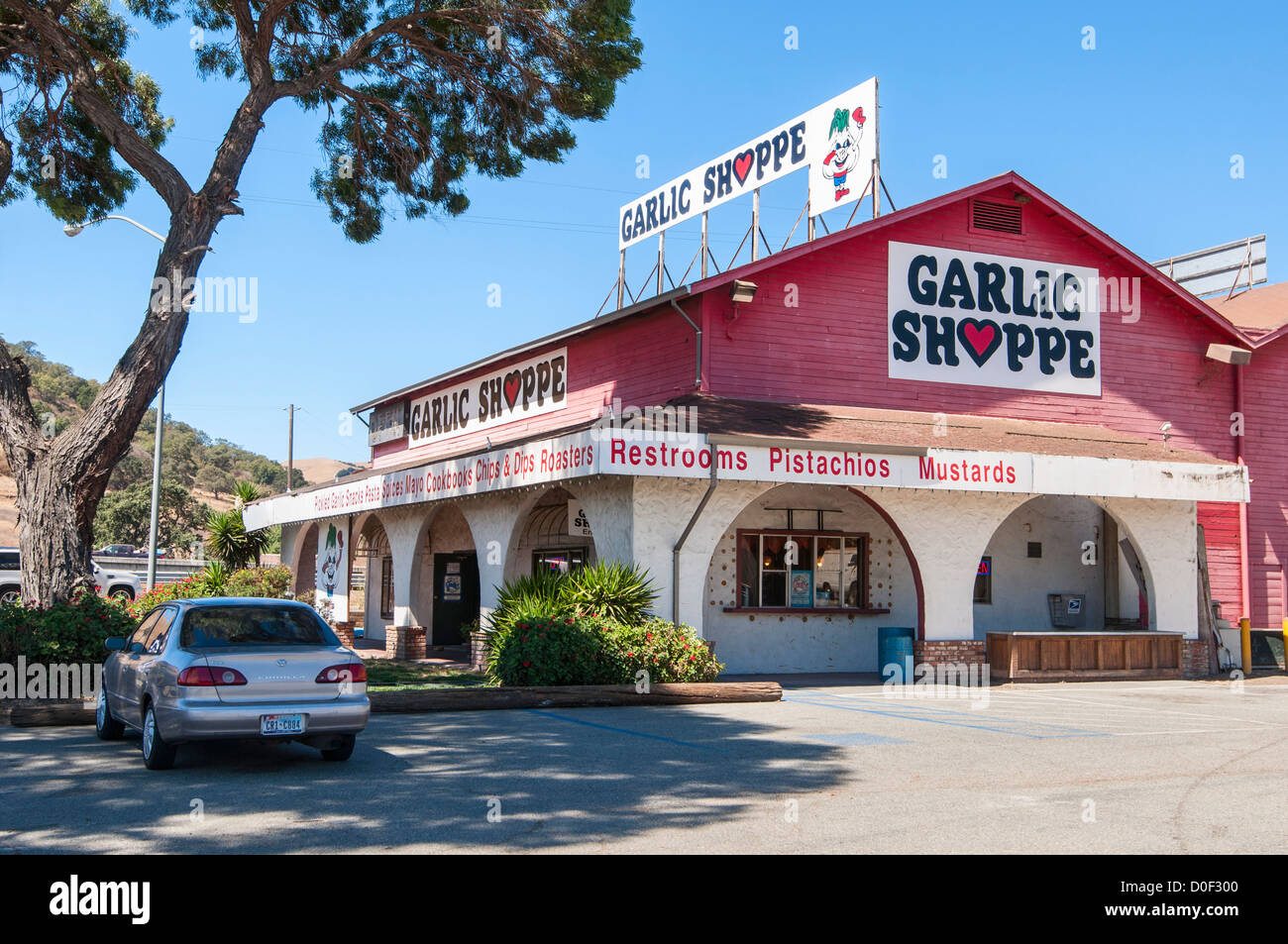 Specialty and gourmet food products sold in this store located in the garlic capital of the world, Gilroy, California. - Stock Image