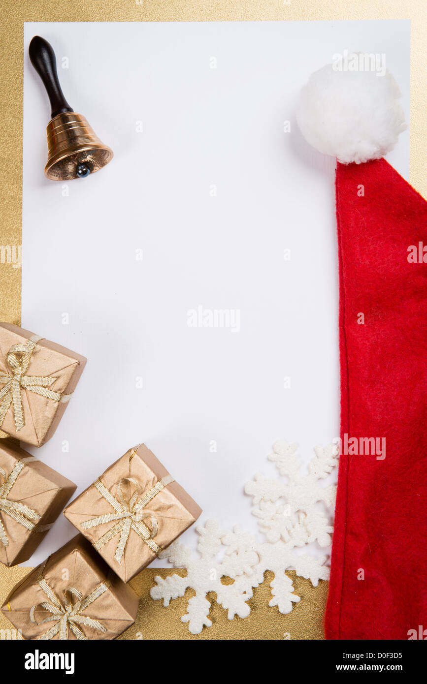 Christmas and New Year greeting card with space for text - Stock Image
