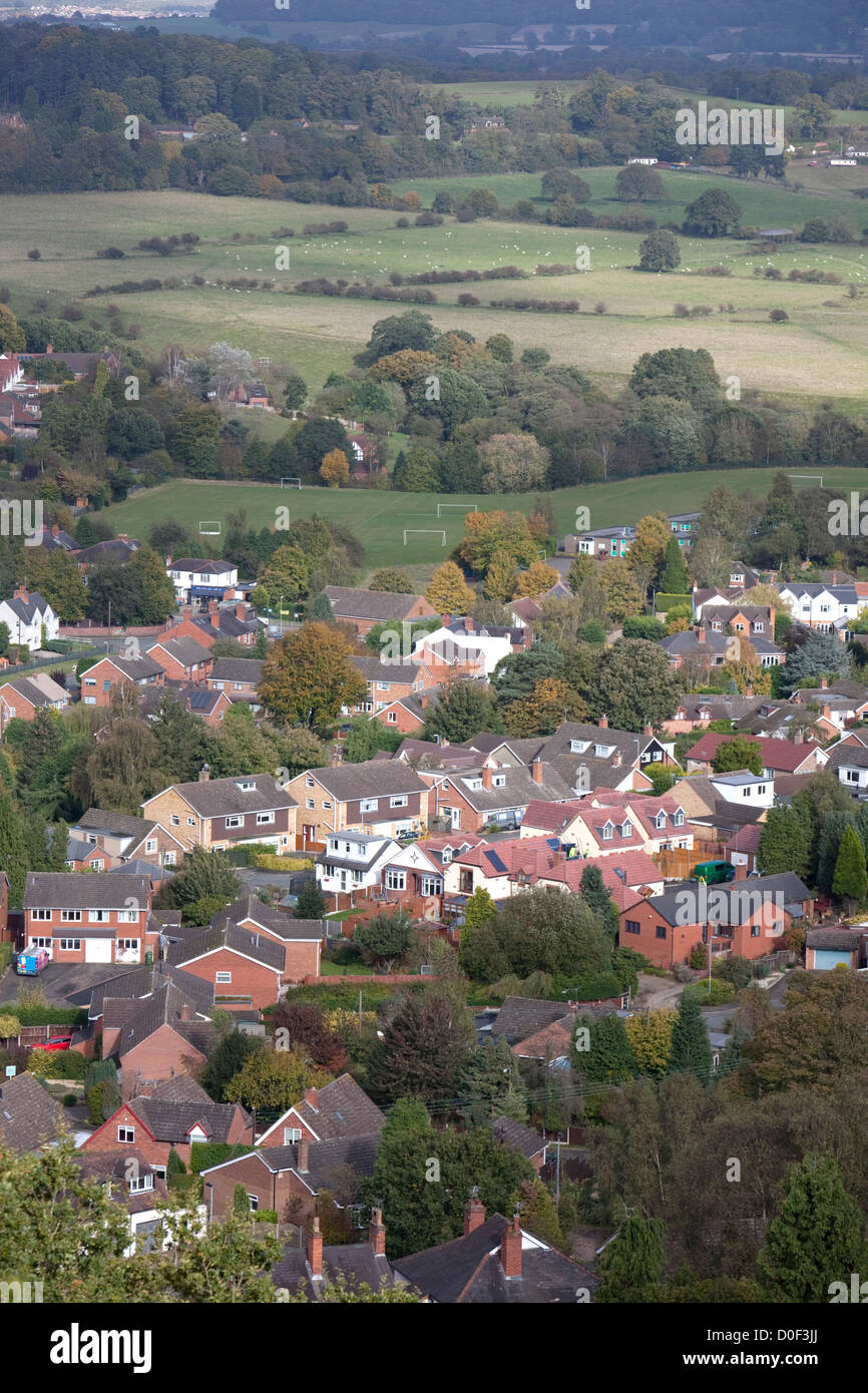 The town of Kinver from Kinver Edge, Staffordshire, England, UK - Stock Image