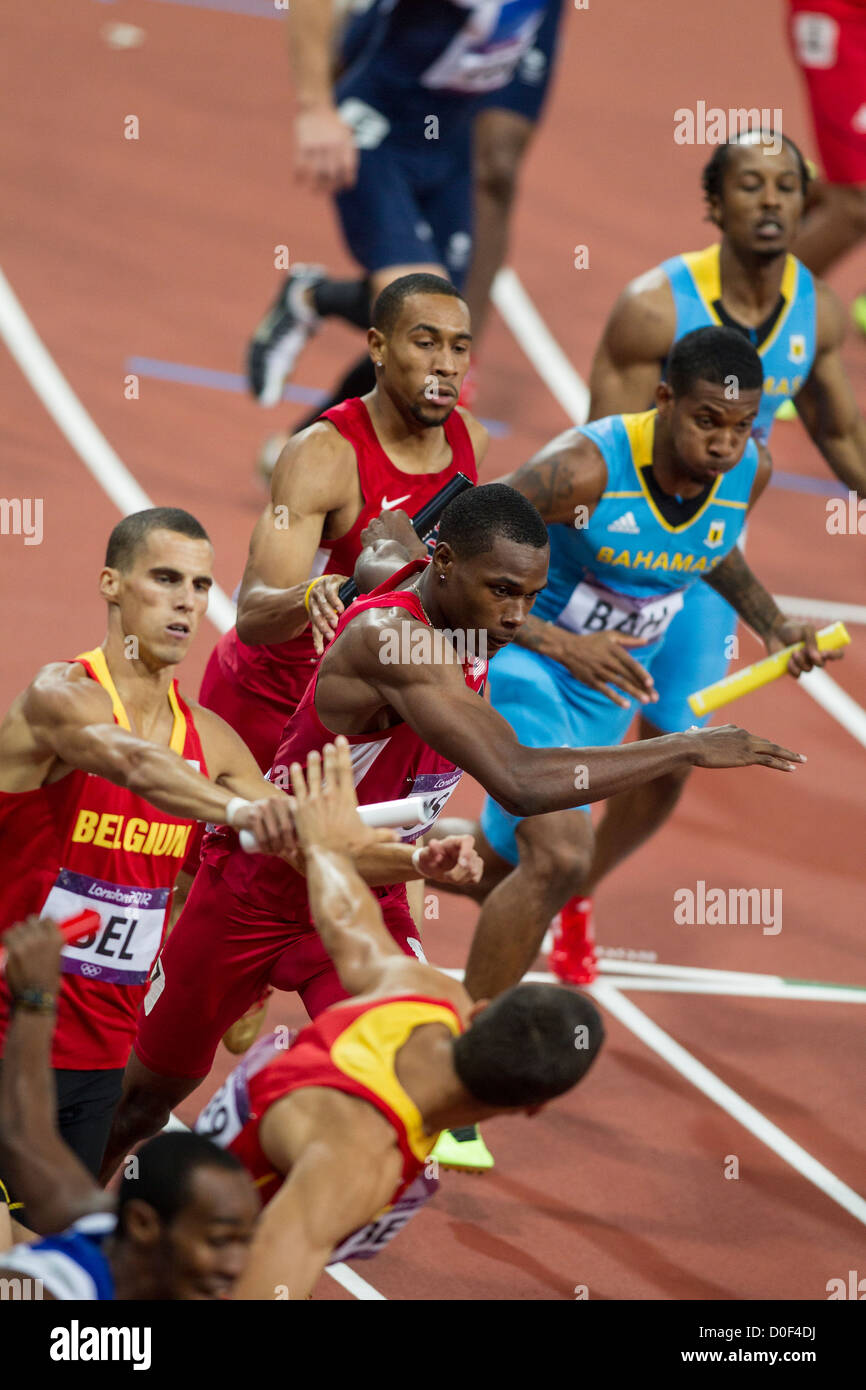 Baton pass in the final of the Men's 4X400 relay at the Olympic Summer Games, London 2012 - Stock Image