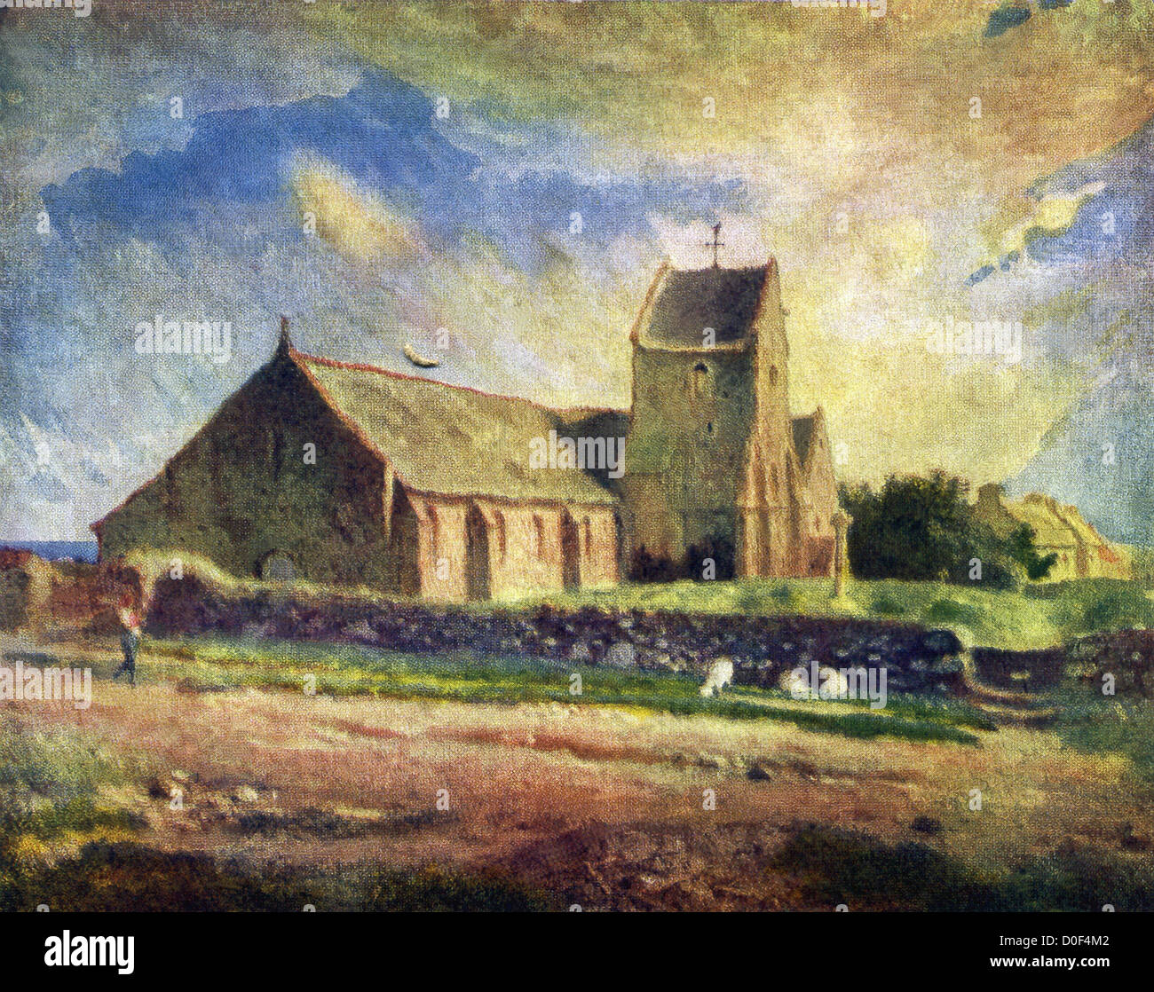 The Church at Greville, by Jean Francois Millet, is one of the subtlest landscapes by the artist in existence. - Stock Image