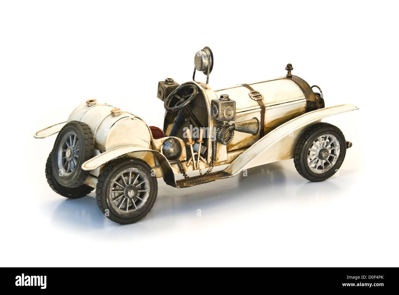 back of white oldtimer model - Stock Image