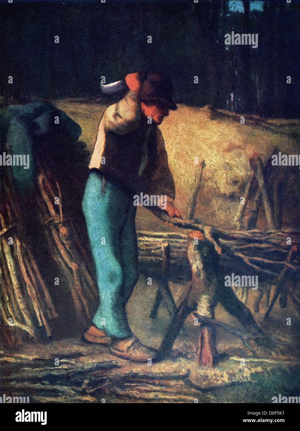 The Wood-Cutter, by Millet, on a warm sunny day, full of life and vigor, brings before us the joyous side of peasant - Stock Image